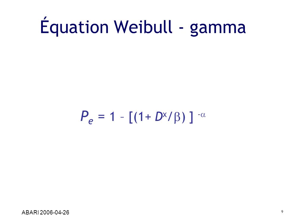 Équation Weibull - gamma