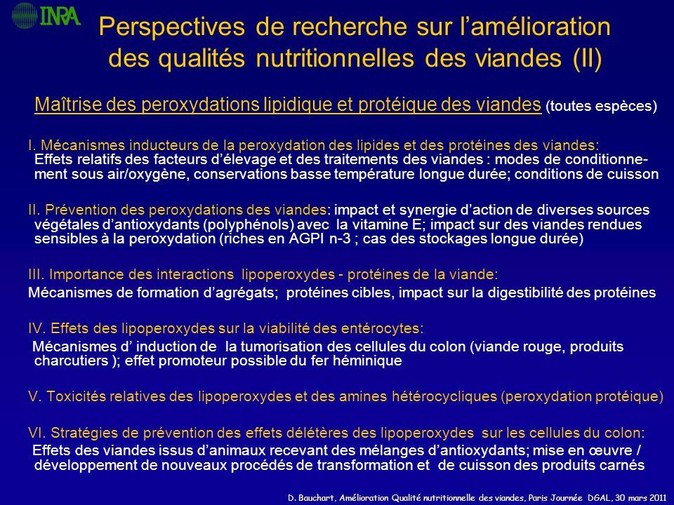 Perspectives de recherche sur l'amélioration des qualités nutritionnelles des viandes (II)