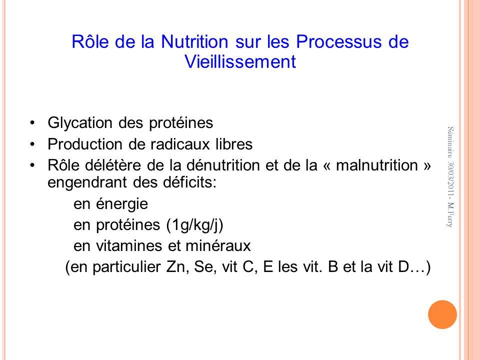 Rôle de la Nutrition sur les Processus de Vieillissement