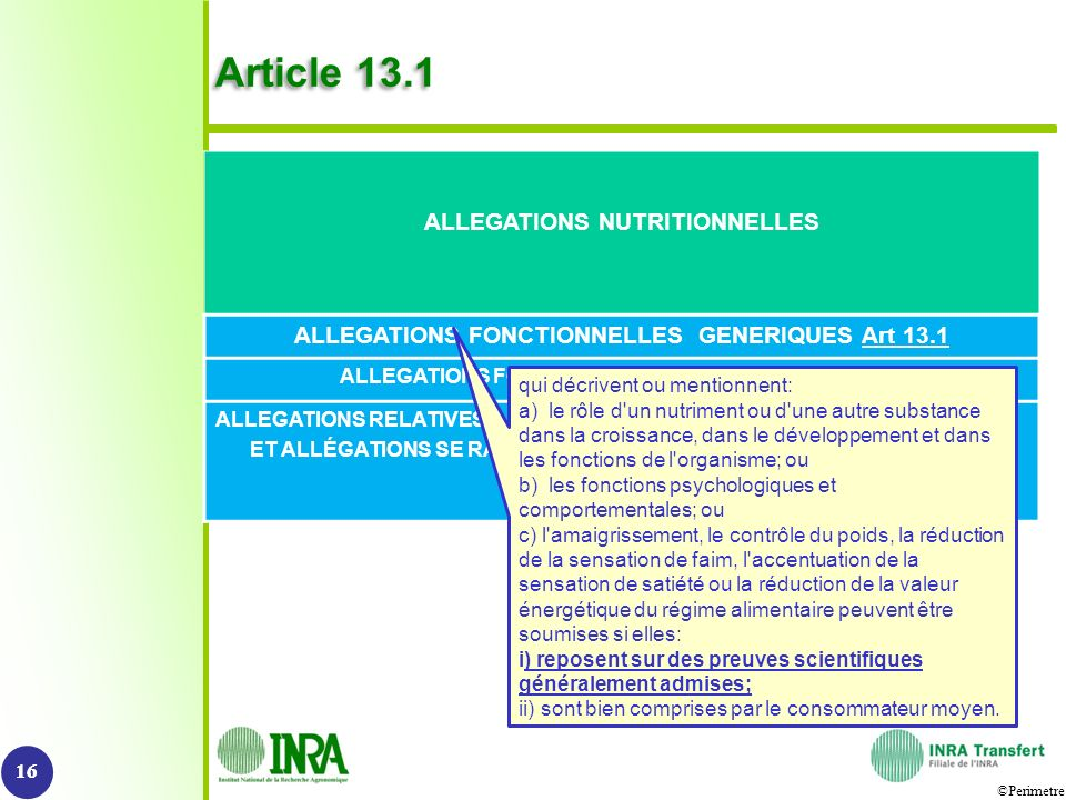 Article 13.1 ALLEGATIONS NUTRITIONNELLES