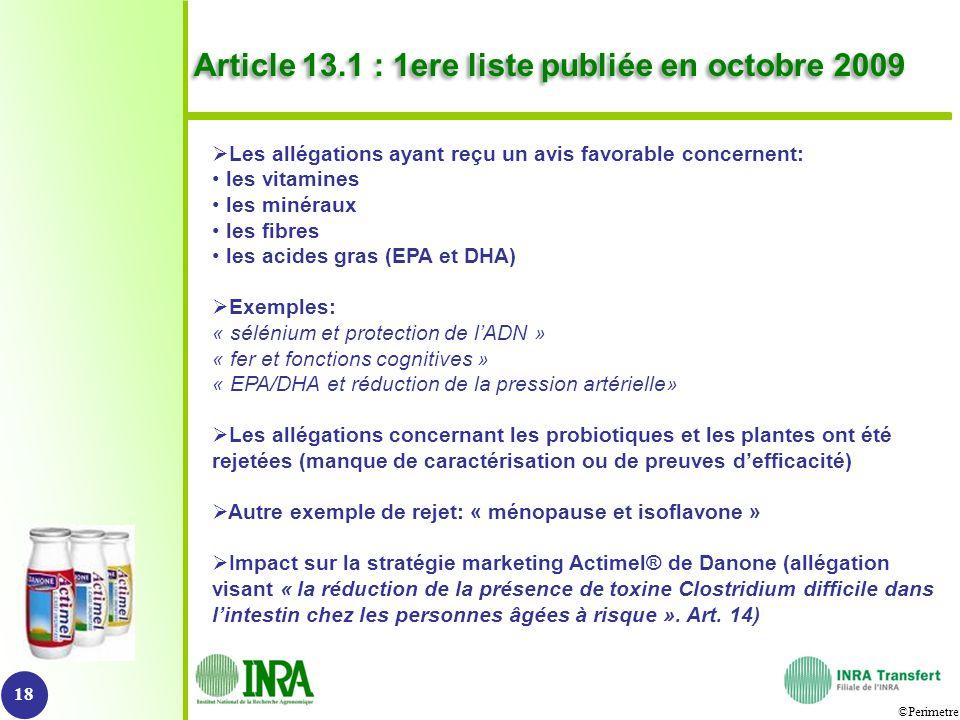 Article 13.1 : 1ere liste publiée en octobre 2009