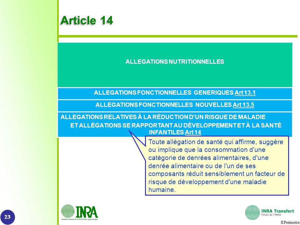 Article 14 ALLEGATIONS NUTRITIONNELLES. ALLEGATIONS FONCTIONNELLES GENERIQUES Art 13.1. ALLEGATIONS FONCTIONNELLES NOUVELLES Art 13.5.