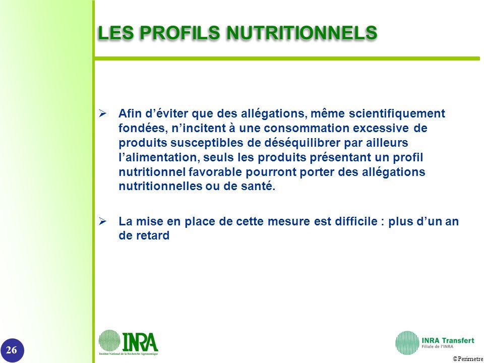 LES PROFILS NUTRITIONNELS
