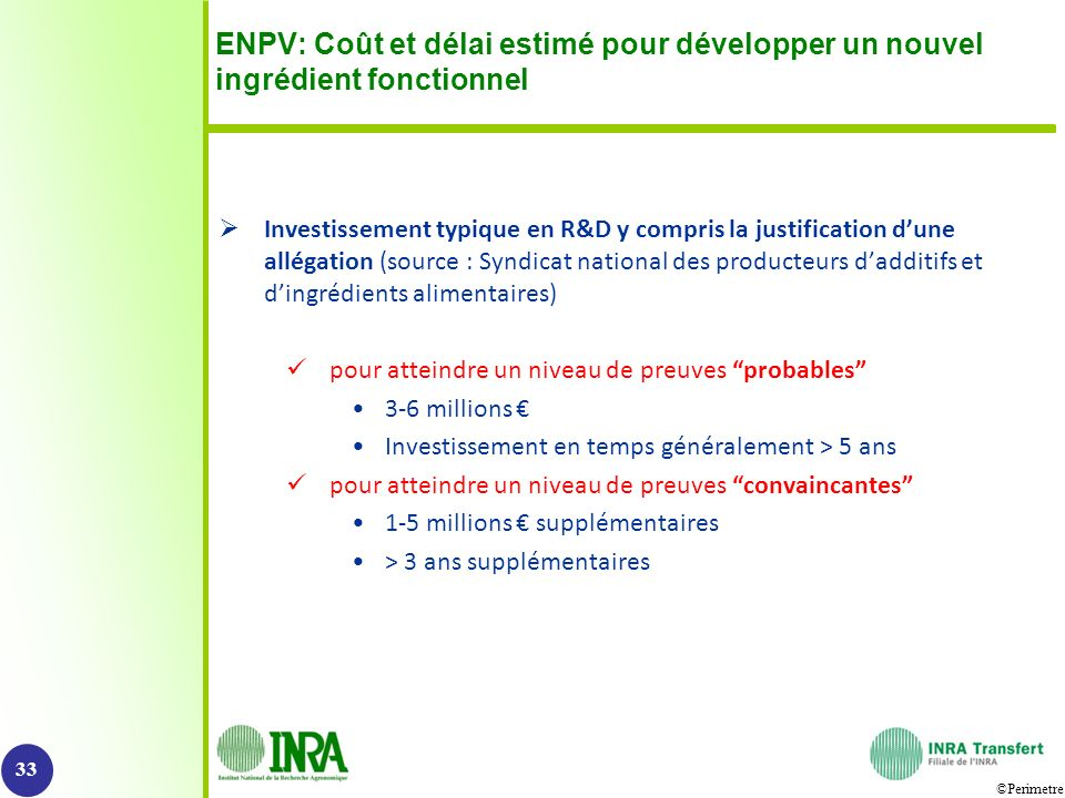 ENPV: Coût et délai estimé pour développer un nouvel ingrédient fonctionnel