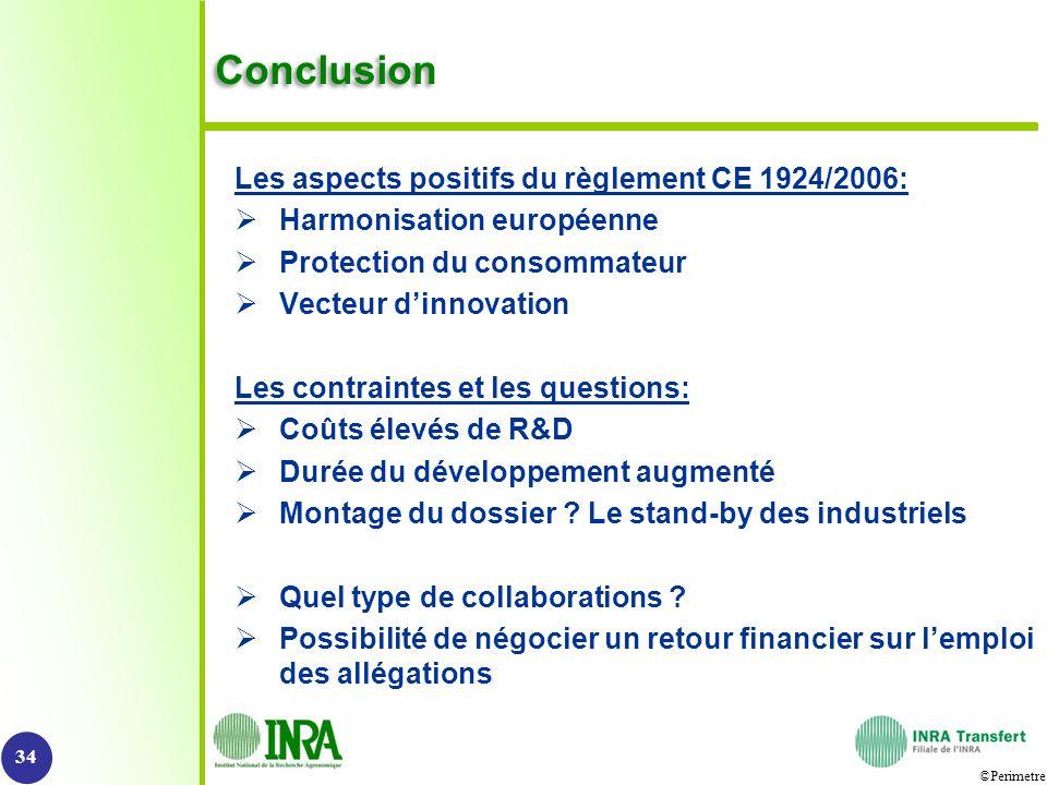 Conclusion Les aspects positifs du règlement CE 1924/2006: