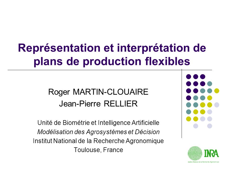 Représentation et interprétation de plans de production flexibles
