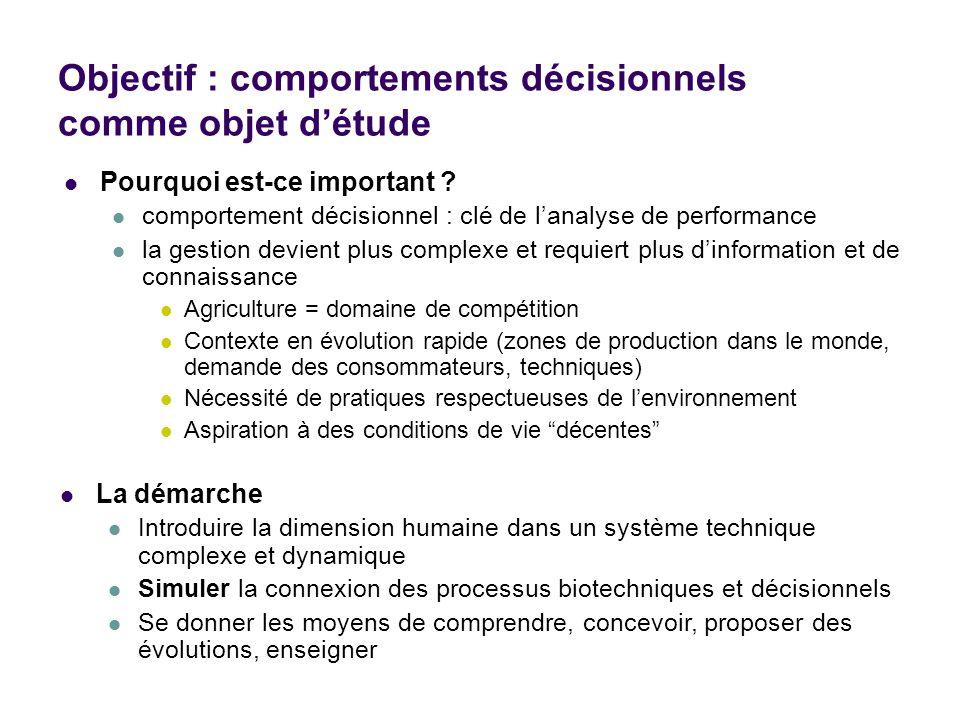 Objectif : comportements décisionnels comme objet d'étude