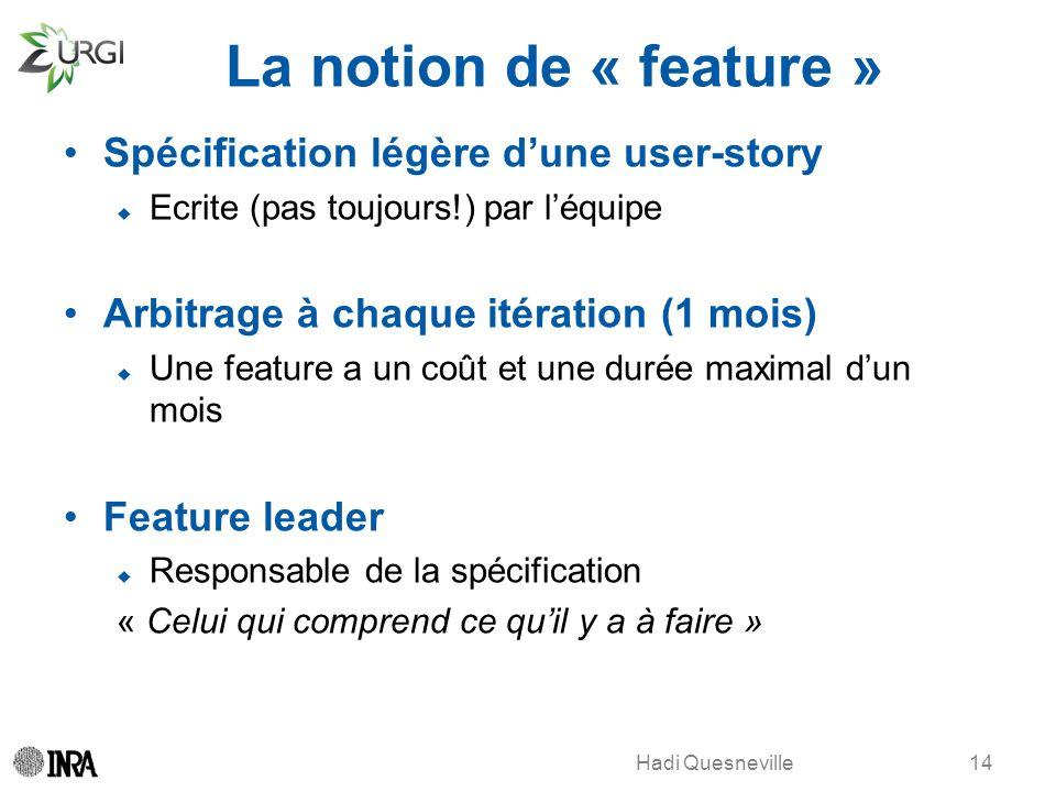 La notion de « feature » Spécification légère d'une user-story
