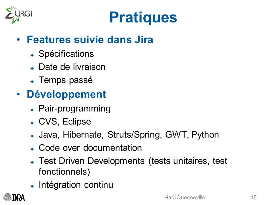 Pratiques Features suivie dans Jira Développement Spécifications