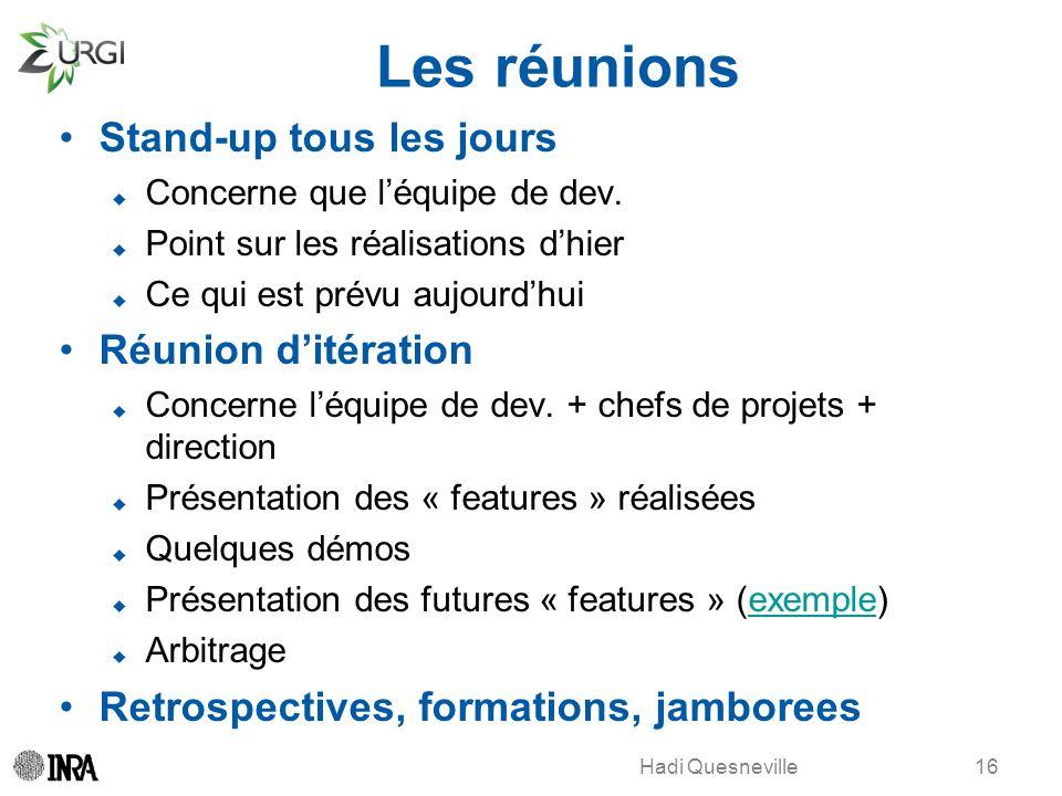 Les réunions Stand-up tous les jours Réunion d'itération