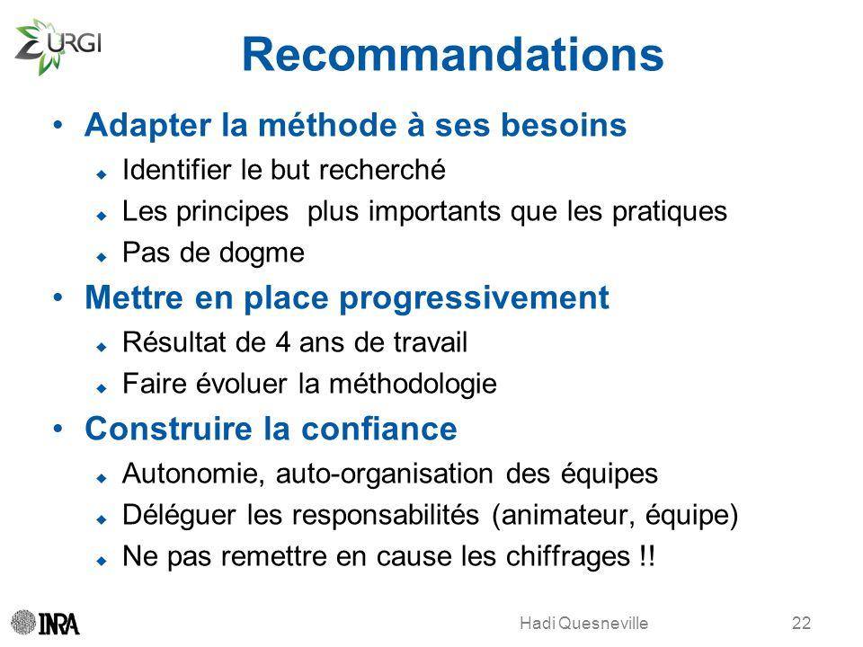 Recommandations Adapter la méthode à ses besoins