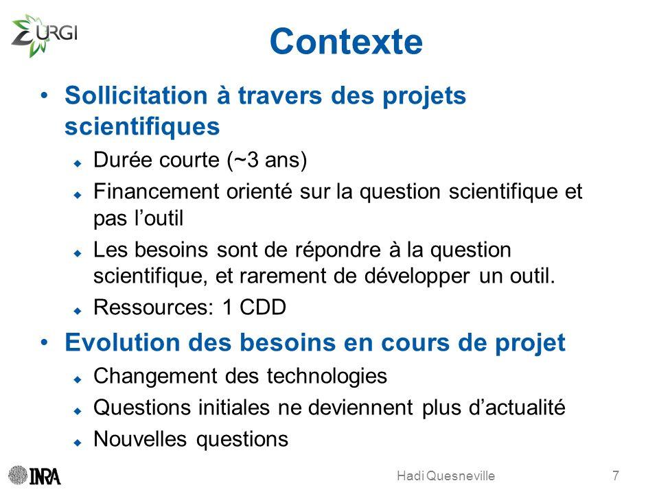 Contexte Sollicitation à travers des projets scientifiques
