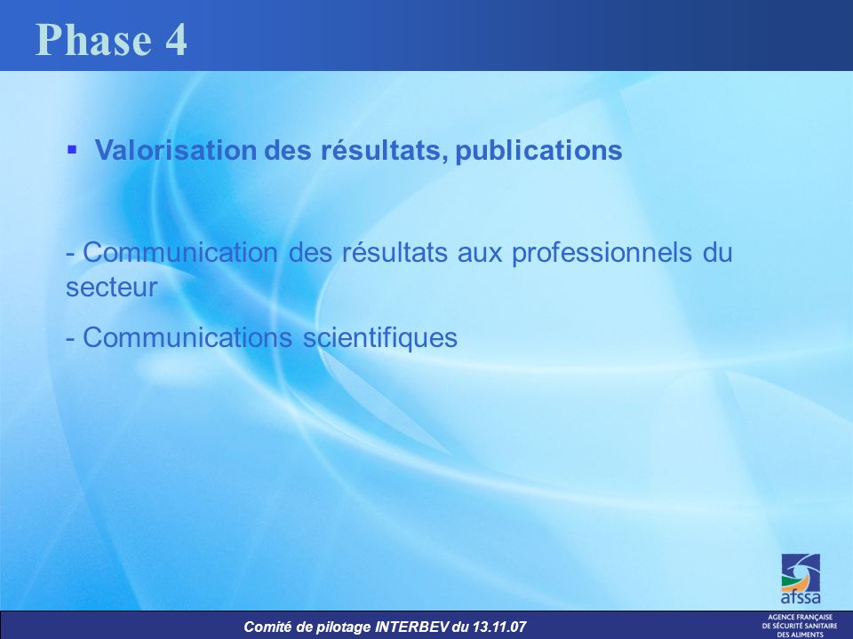 Phase 4 Valorisation des résultats, publications