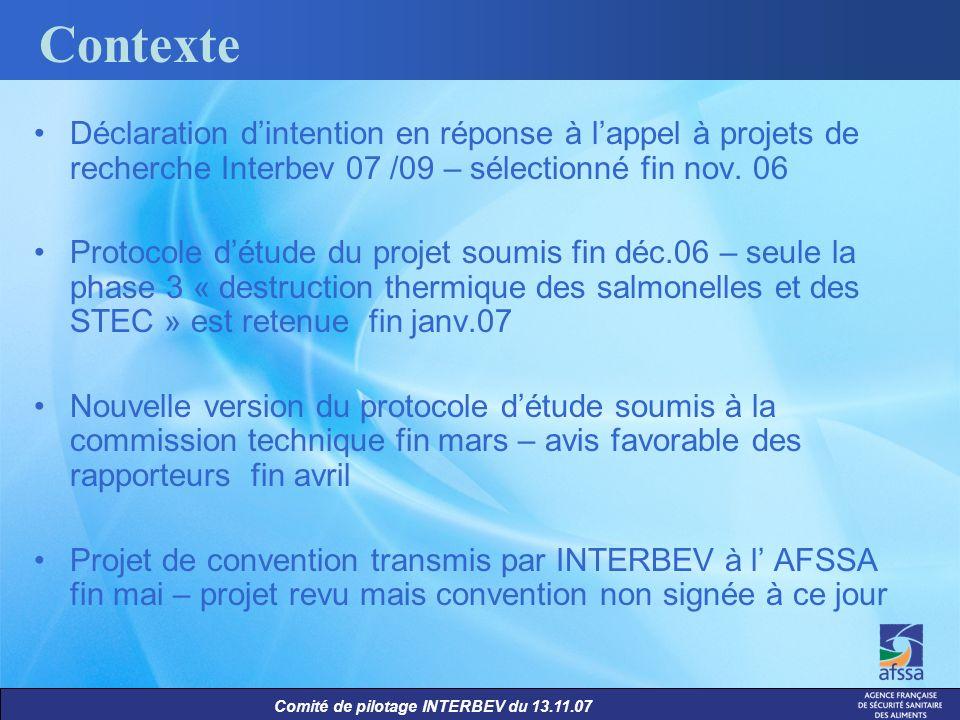 Contexte Déclaration d'intention en réponse à l'appel à projets de recherche Interbev 07 /09 – sélectionné fin nov. 06.