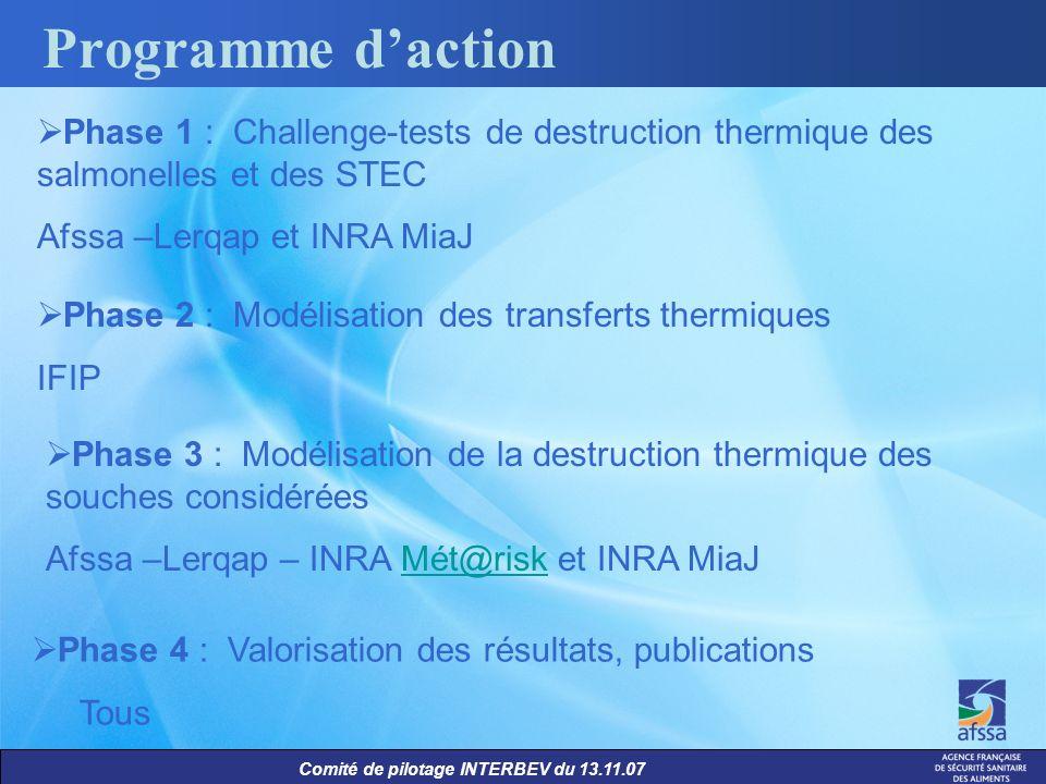 Programme d'actionPhase 1 : Challenge-tests de destruction thermique des salmonelles et des STEC. Afssa –Lerqap et INRA MiaJ.