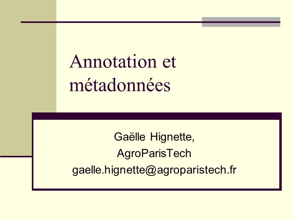Annotation et métadonnées