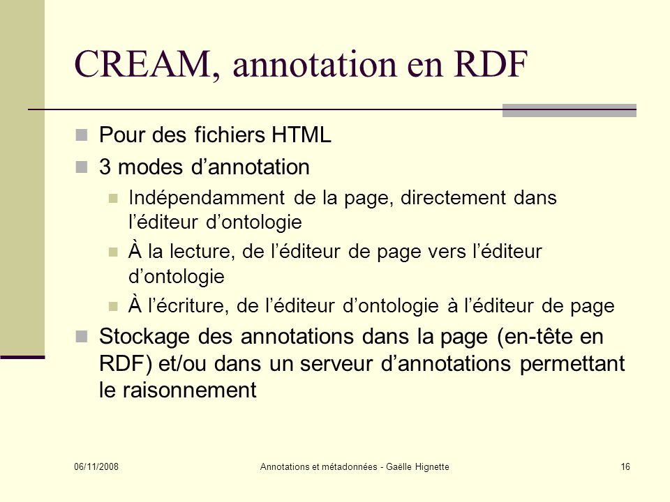 CREAM, annotation en RDF