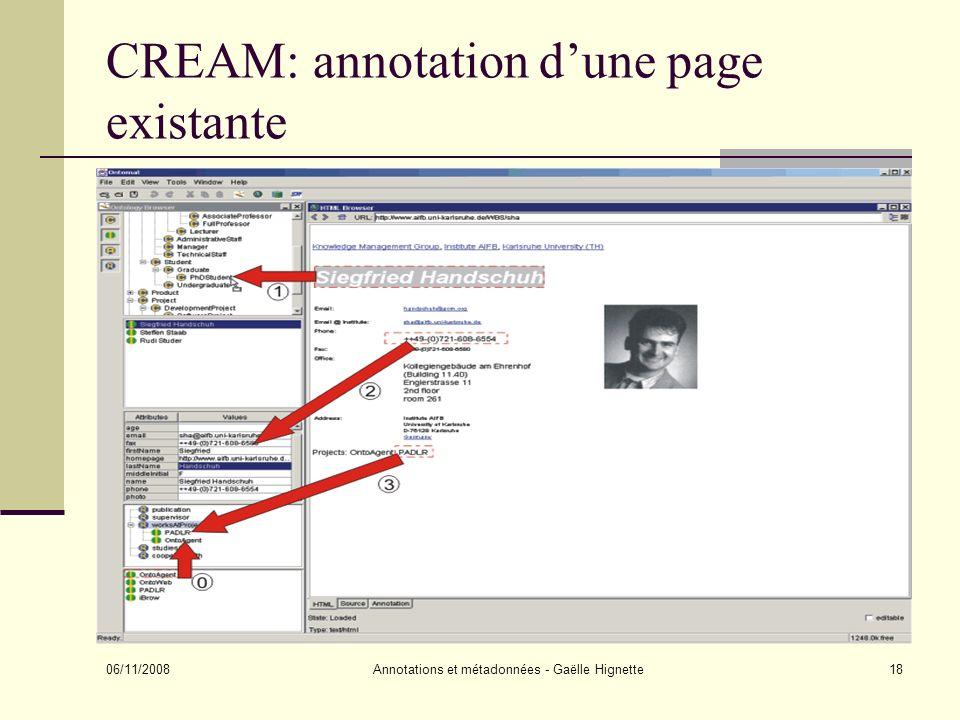 CREAM: annotation d'une page existante