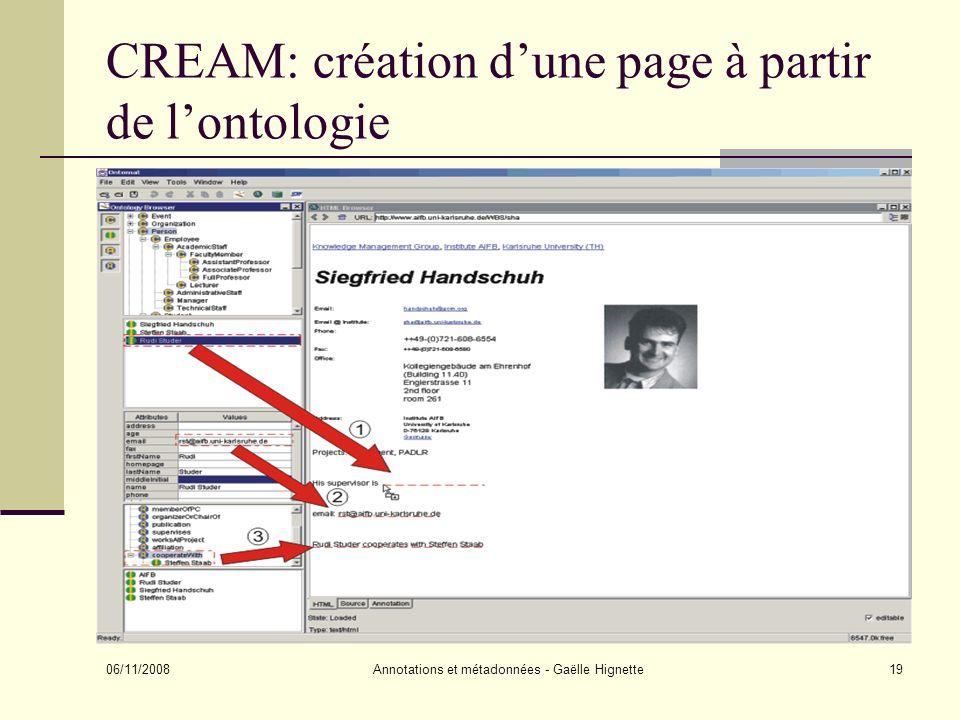 CREAM: création d'une page à partir de l'ontologie