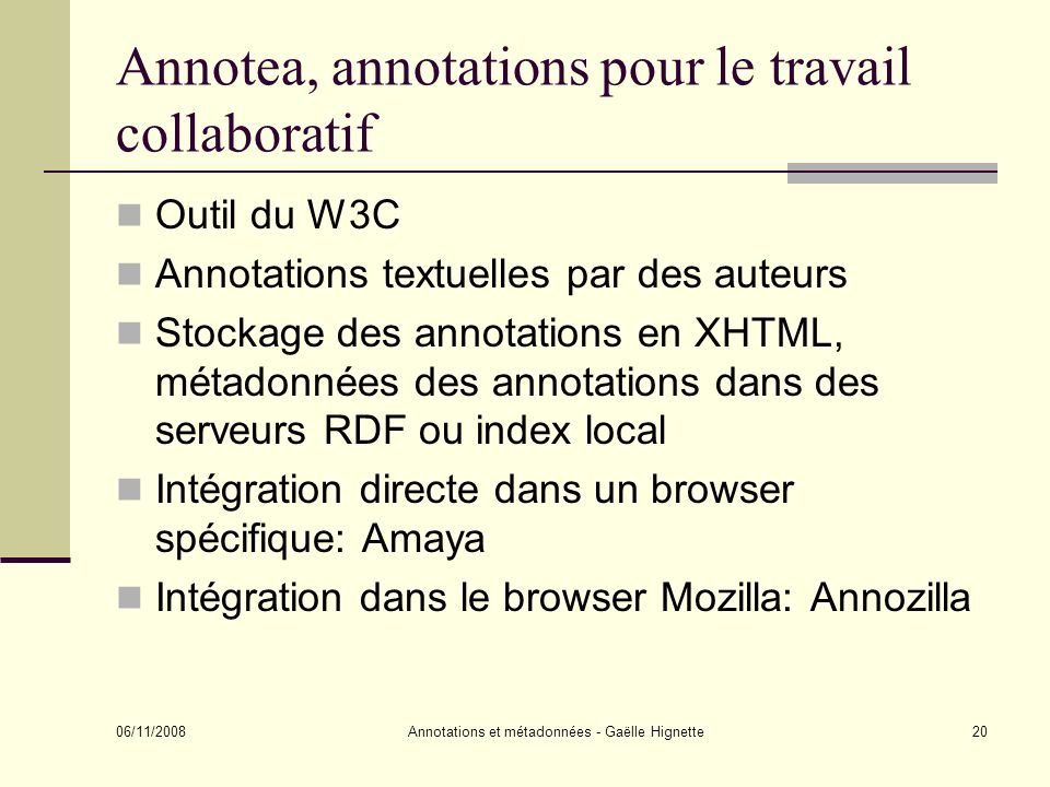 Annotea, annotations pour le travail collaboratif