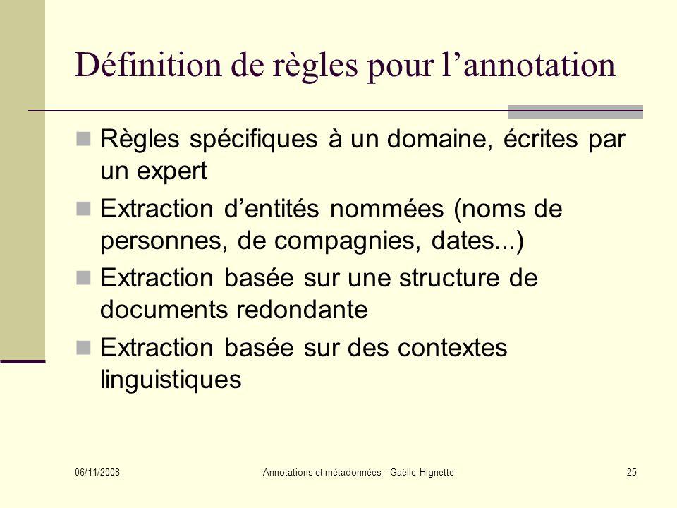 Définition de règles pour l'annotation