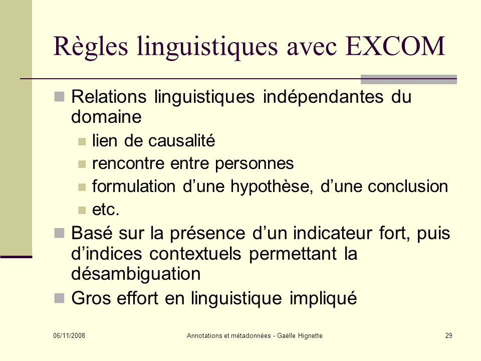 Règles linguistiques avec EXCOM