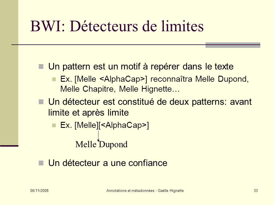 BWI: Détecteurs de limites