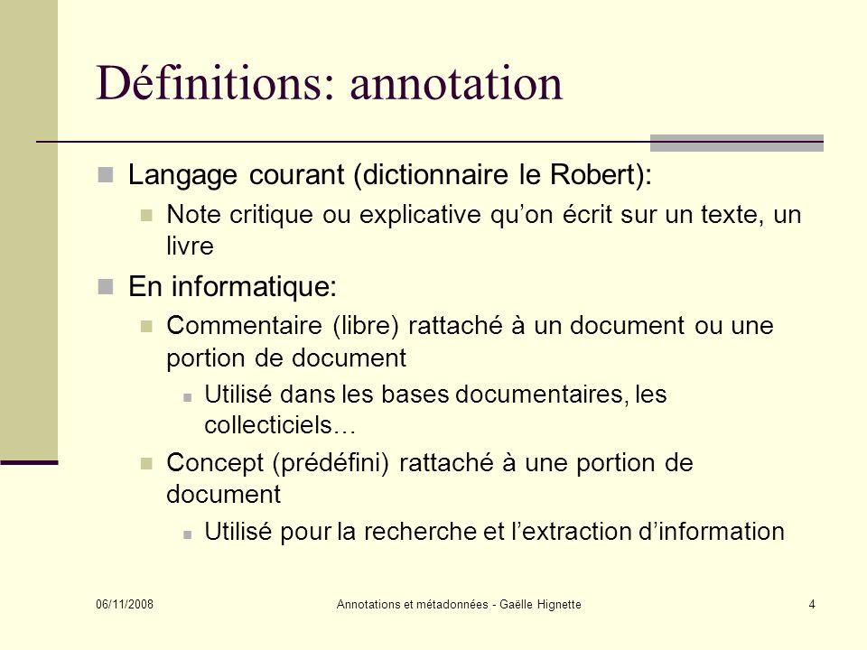 Définitions: annotation