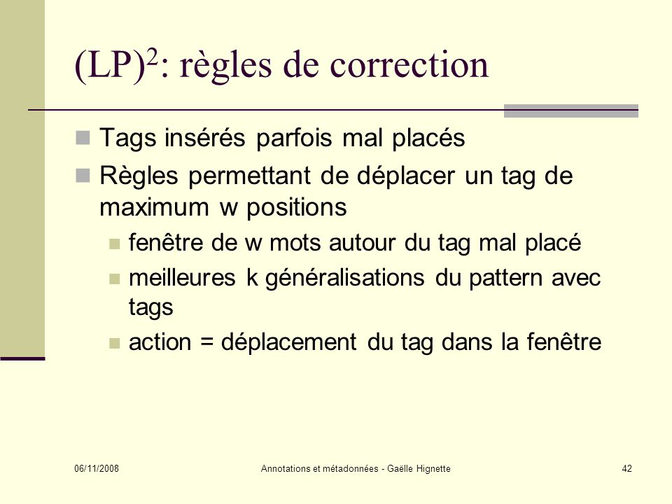 (LP)2: règles de correction