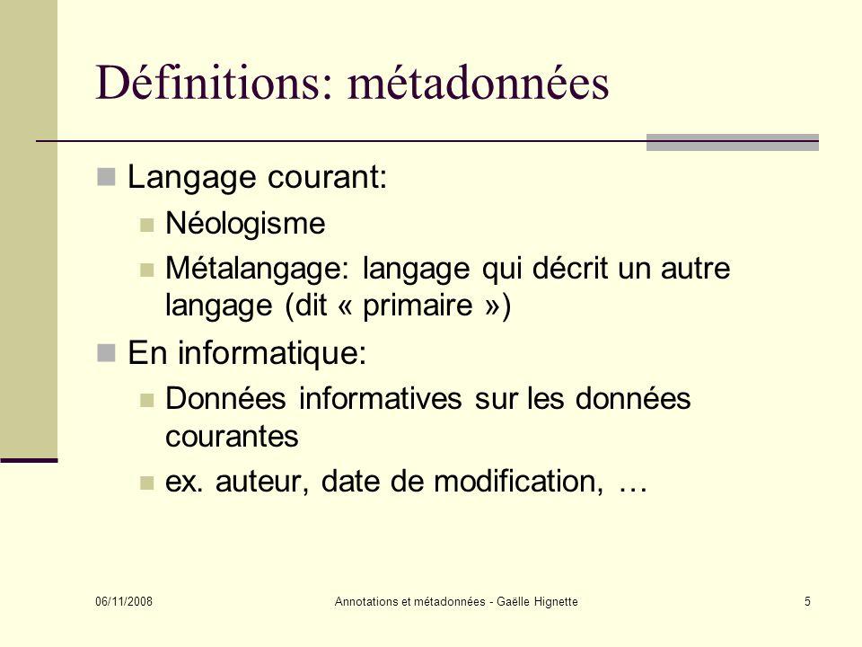Définitions: métadonnées