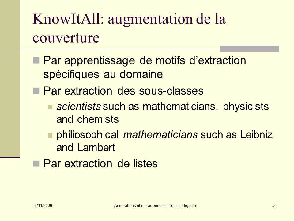 KnowItAll: augmentation de la couverture