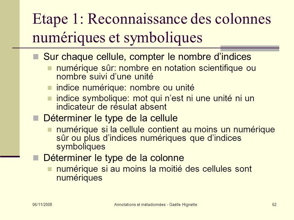 Etape 1: Reconnaissance des colonnes numériques et symboliques