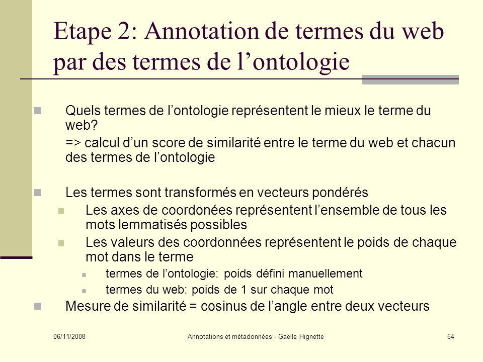 Etape 2: Annotation de termes du web par des termes de l'ontologie