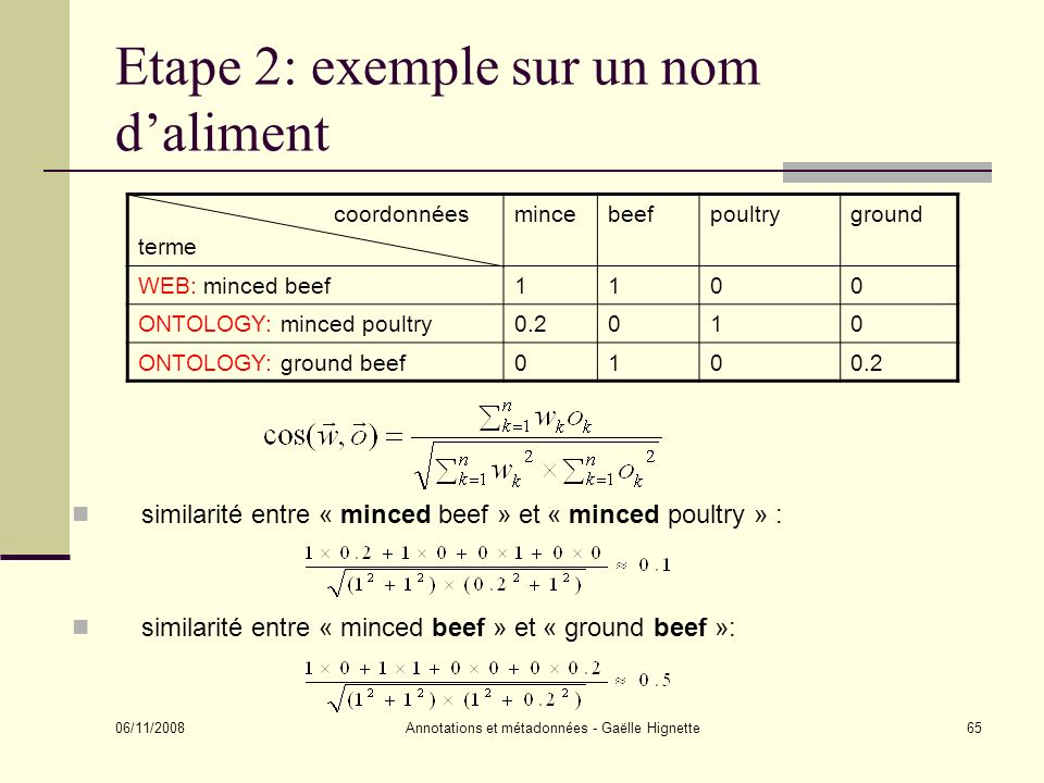 Etape 2: exemple sur un nom d'aliment