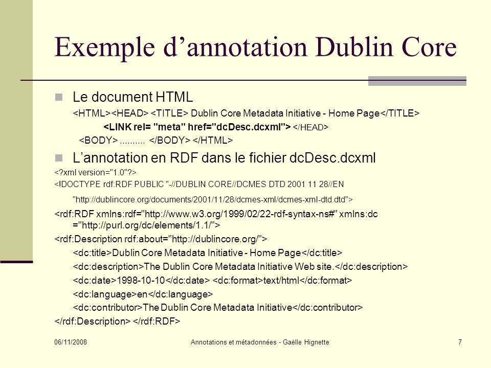 Exemple d'annotation Dublin Core