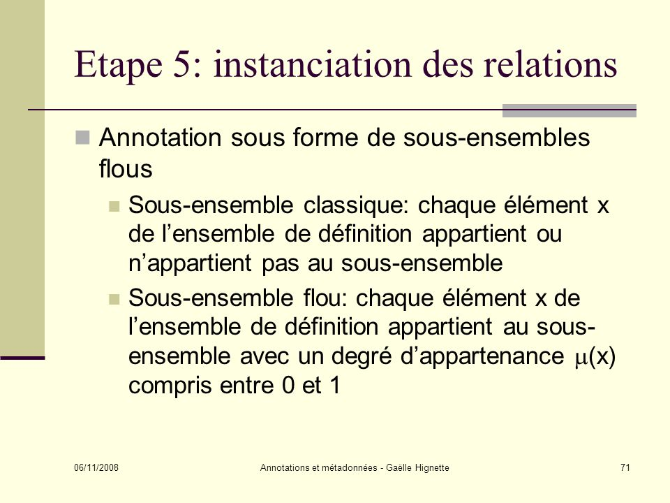 Etape 5: instanciation des relations