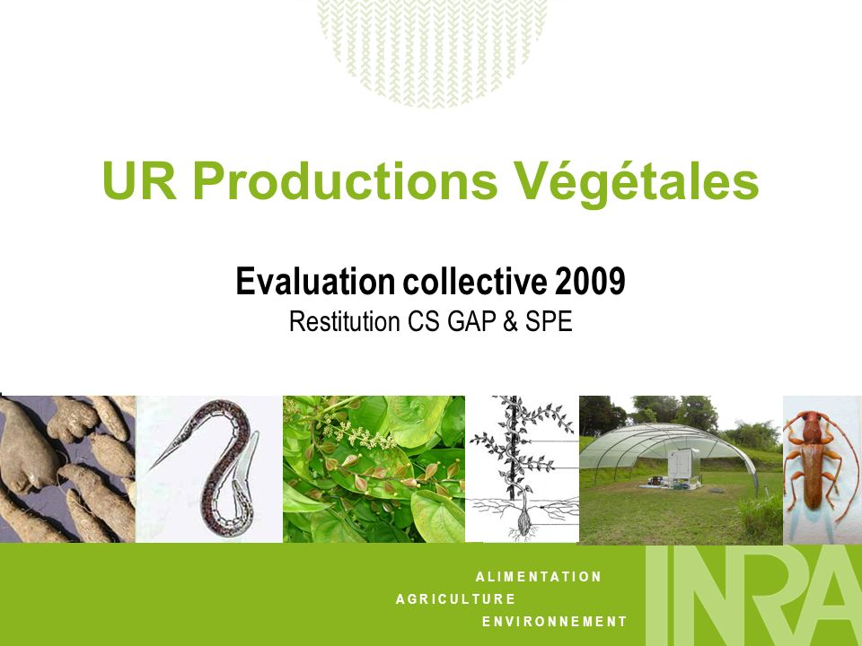 UR Productions Végétales Evaluation collective 2009