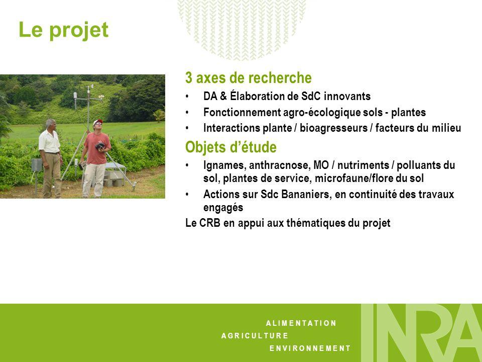 Le projet 3 axes de recherche Objets d'étude