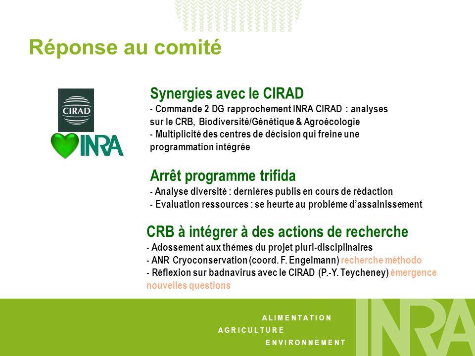 Réponse au comité Synergies avec le CIRAD Arrêt programme trifida