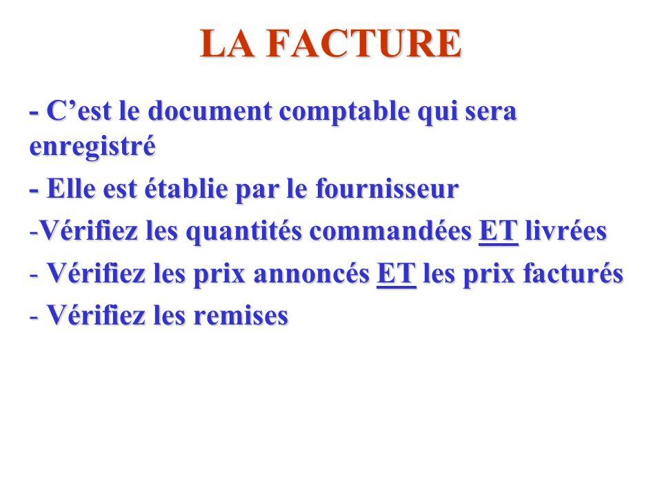 LA FACTURE - C'est le document comptable qui sera enregistré