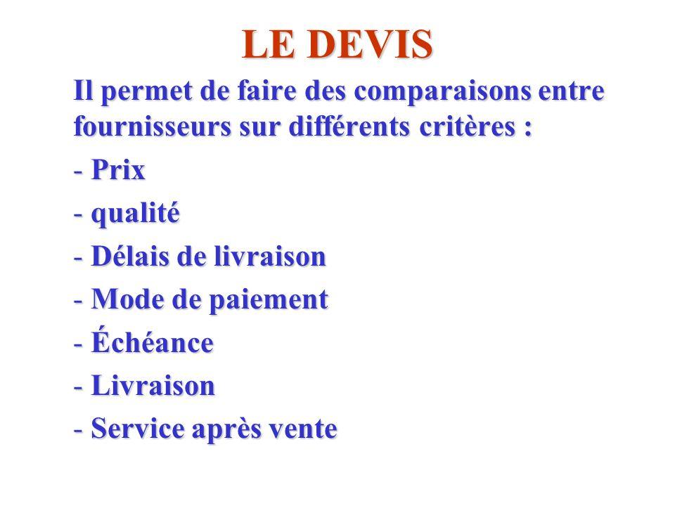 LE DEVIS Il permet de faire des comparaisons entre fournisseurs sur différents critères : Prix. qualité.