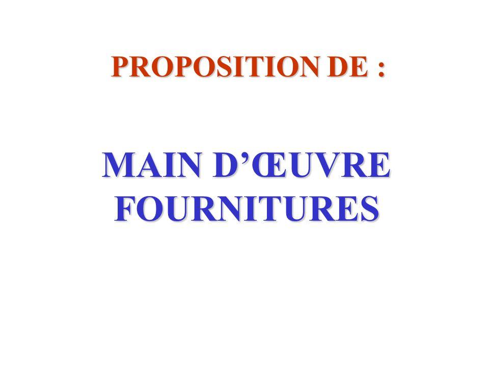 MAIN D'ŒUVRE FOURNITURES
