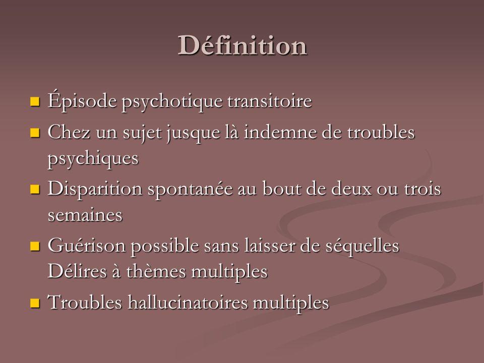 Définition Épisode psychotique transitoire