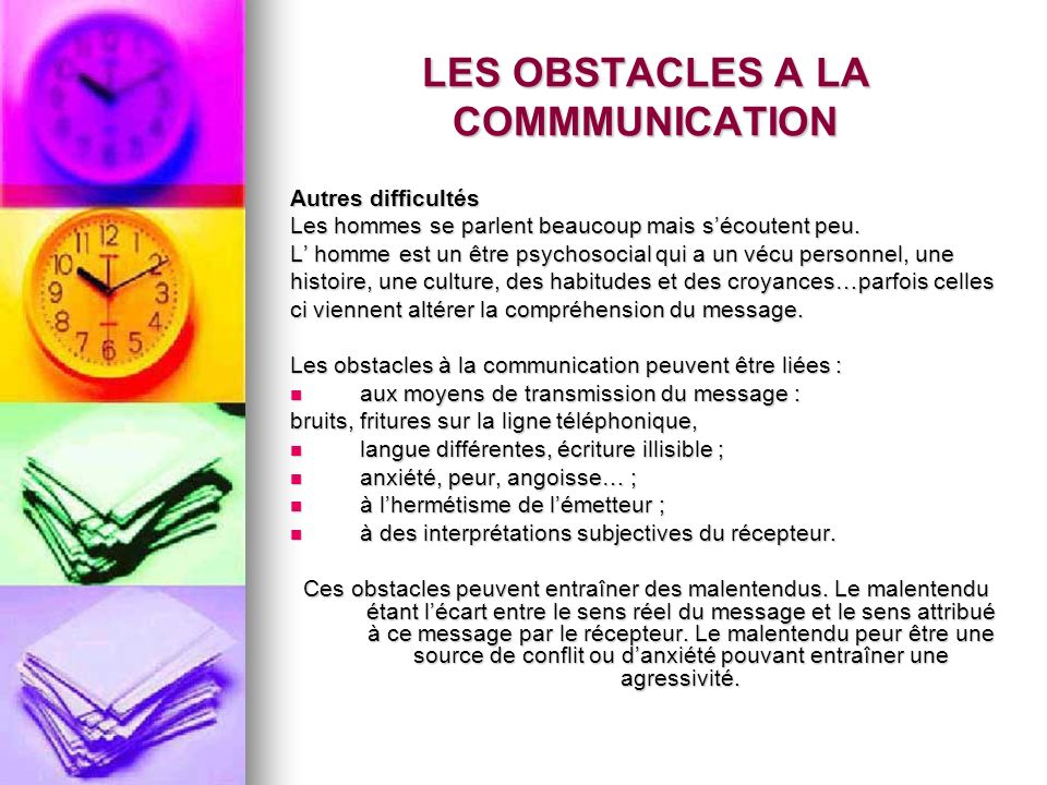LES OBSTACLES A LA COMMMUNICATION