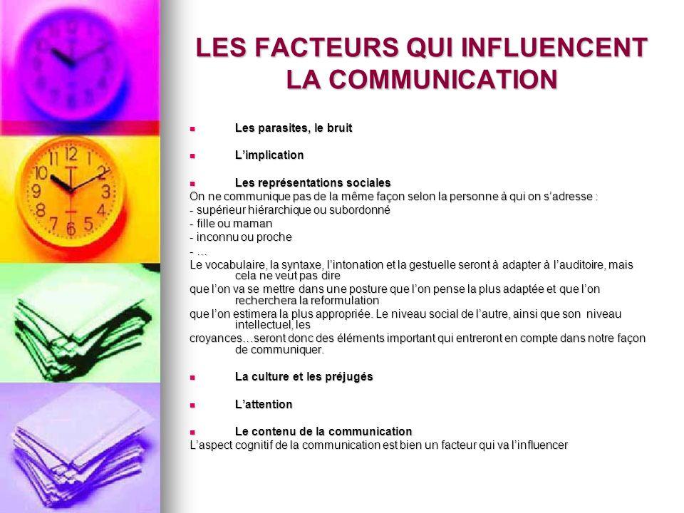 LES FACTEURS QUI INFLUENCENT LA COMMUNICATION