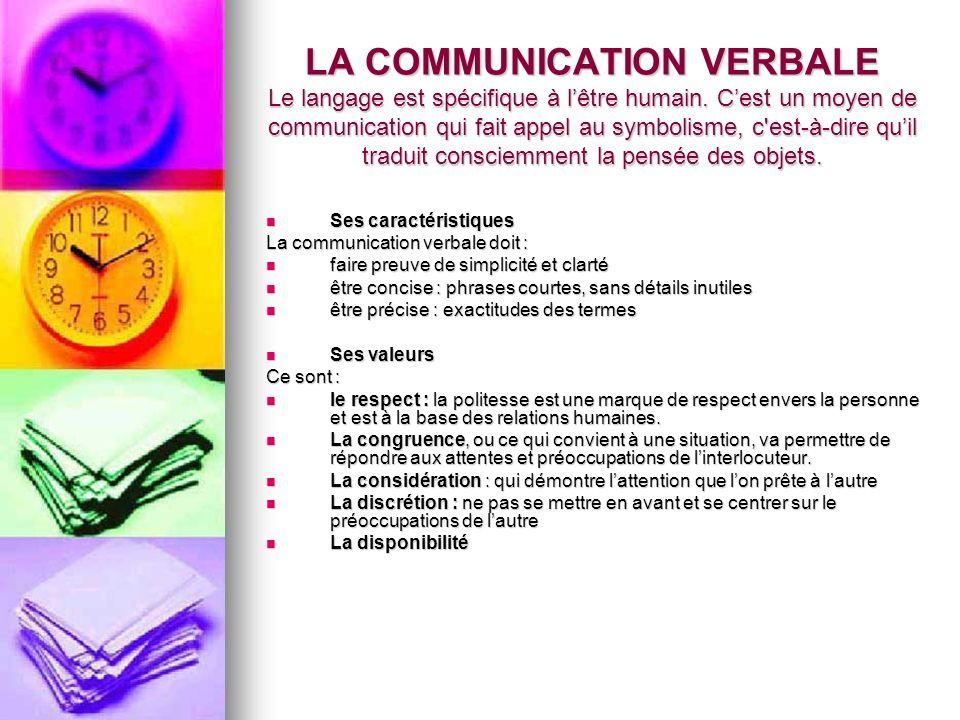 LA COMMUNICATION VERBALE Le langage est spécifique à l'être humain