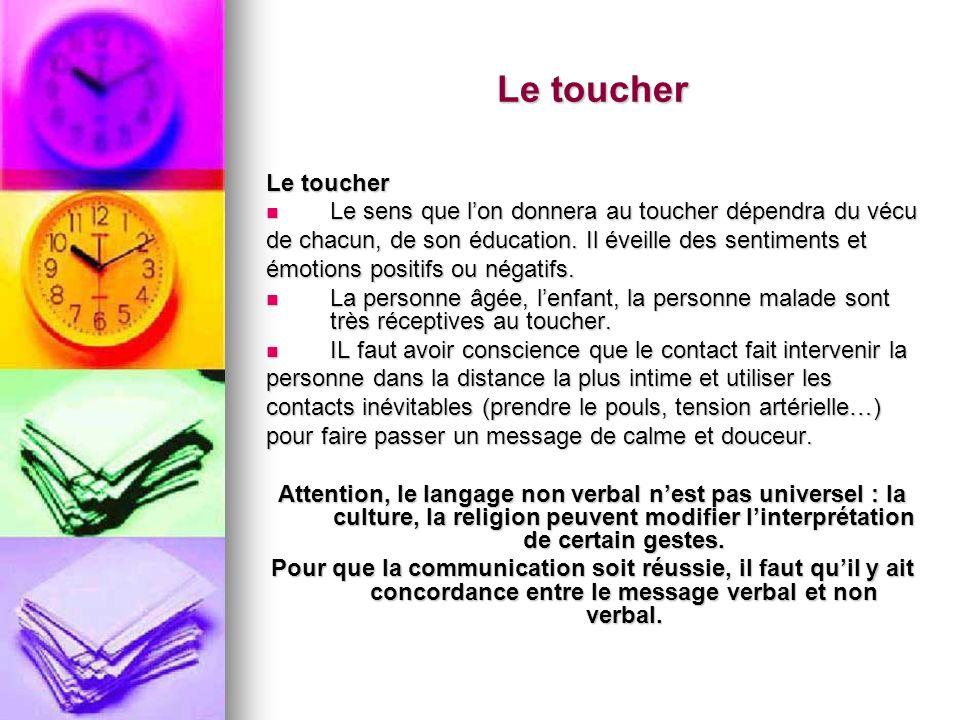 Le toucher Le toucher. Le sens que l'on donnera au toucher dépendra du vécu. de chacun, de son éducation. Il éveille des sentiments et.