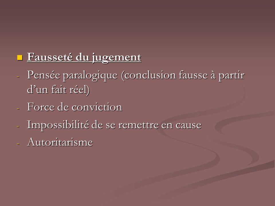 Fausseté du jugementPensée paralogique (conclusion fausse à partir d'un fait réel) Force de conviction.
