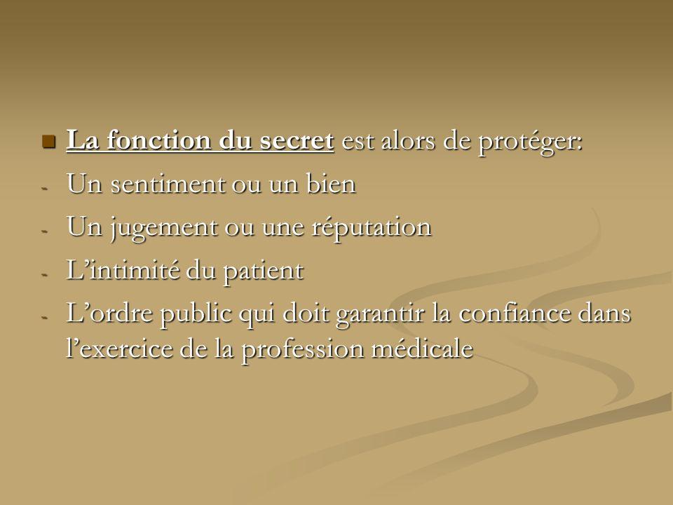 La fonction du secret est alors de protéger: