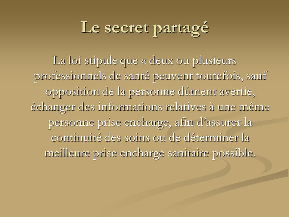 Le secret partagé